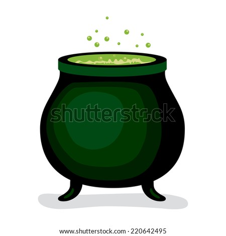 Dark witch magic cauldron with green brew potion boiling bubbling - stock photo