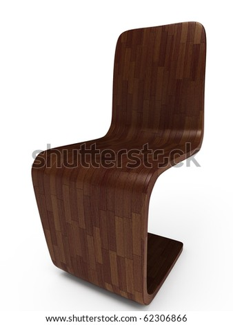 dark wood chair on white background. 3D illustration - stock photo