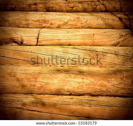 dark wood interior of logs - stock photo