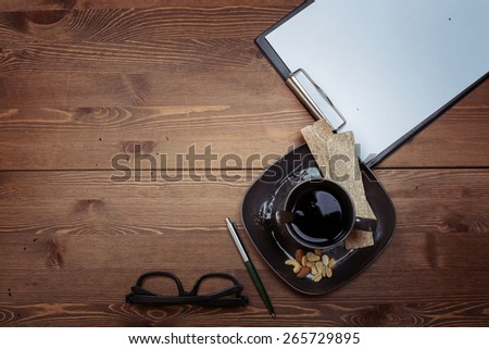 dark wood. still life. morning. business. the work. healthy food. breakfast. - stock photo