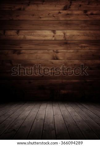 dark wooden interior room. - stock photo