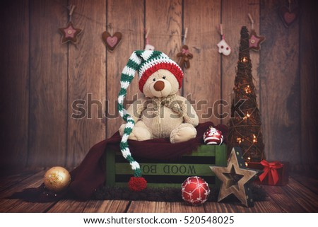 Dark wooden setup with Christmas decoration