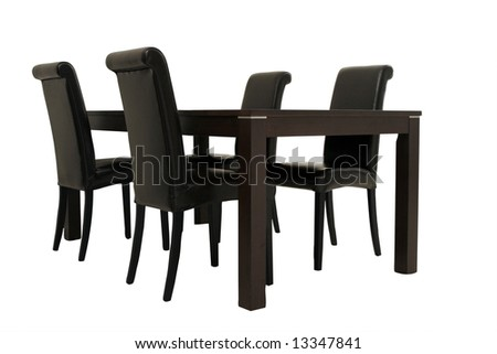 Dark Wooden Table And Chairs - White Background - stock photo