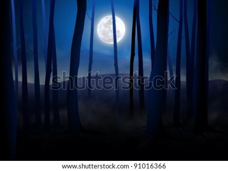 Dark Woods and Full Moon - stock photo