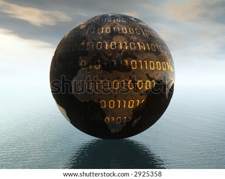 Dark world globe over ocean. 3D render concept - stock photo