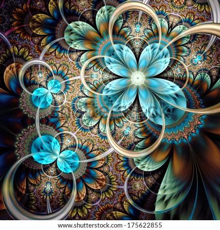 Dark yellow fractal flower, digital artwork graphic  - stock photo