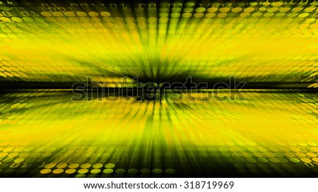 dark yellow illustration of technology internet network computer background with binary number, style background. infographics. Information. motion blur. pixel. text box. motion move zoom blur - stock photo