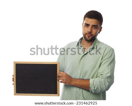 dark young man with a blackboard