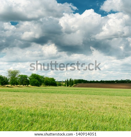 darken clouds over spring green field - stock photo