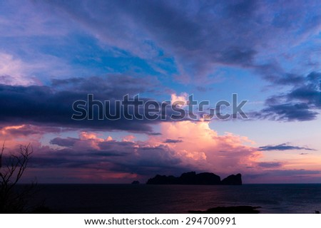 Darkening Heavens Setting Sun  - stock photo