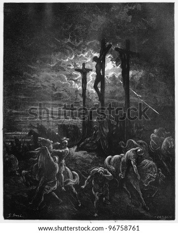 Darkness at the Crucifixion - Picture from The Holy Scriptures, Old and New Testaments books collection published in 1885, Stuttgart-Germany. Drawings by Gustave Dore. - stock photo