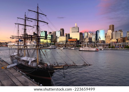 Darling Harbour bay in Sydney at sunset - stock photo