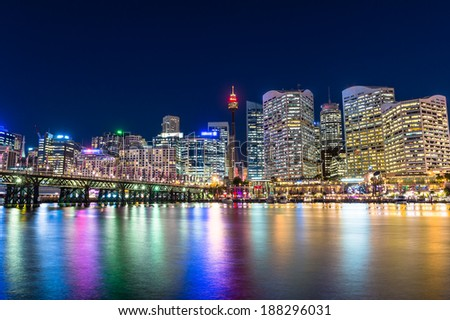 Darling Harbour is a city center of Sydney - stock photo