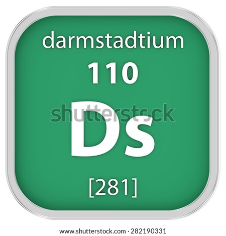 Darmstadtium material on the periodic table. Part of a series. - stock photo