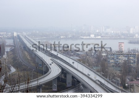 Darnytskyi bridge view on the left bank in the mist