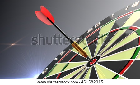 Dart arrows in bulls eye of dartboard. 3d render.
