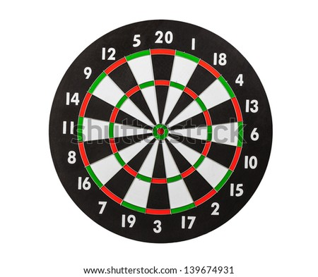 Dart board isolated on white.