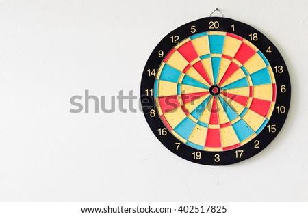 Dart board on white background - stock photo