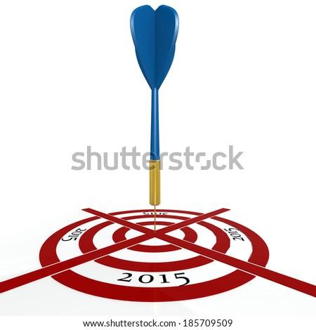 Dart board with  2015 - stock photo