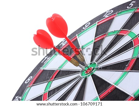 dart board with darts isolated on white - stock photo