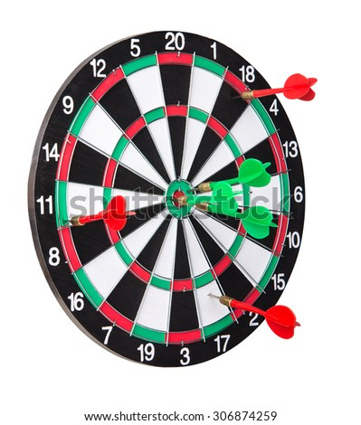 Dart board with the winner and the loser darts