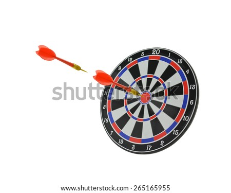 Dart flying and  in bulls eye of Target Board isolated on white background - stock photo