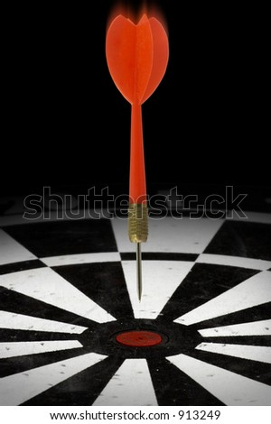 Dart headed for a bull's eye - stock photo