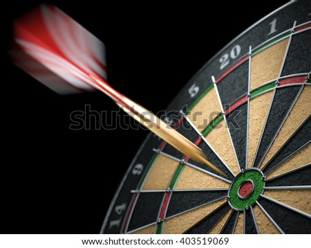 Dart hit a target dartboard in motion. Closeup. 3d illustration - stock photo