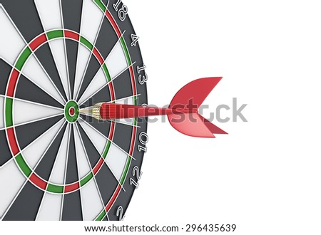Dart hit the target. Dart in the center of the dartboard. 3d illustration. - stock photo