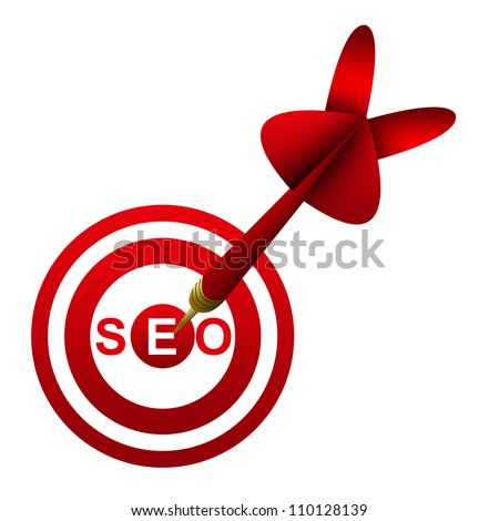 Dart Hitting A SEO( Search Engine Optimization ) Target Isolated On White Background - stock photo
