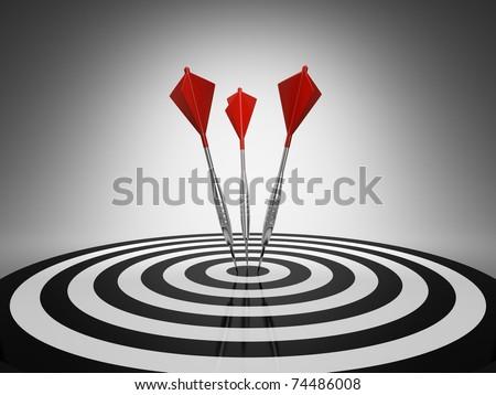 Dart hitting a target on black background - stock photo