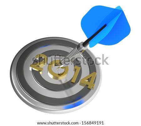 Dart hitting target - New Year 2014. Computer generated 3D photo rendering.  - stock photo