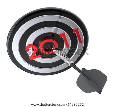 Dart hitting target - New Year 2011. Computer generated 3D photo rendering. - stock photo