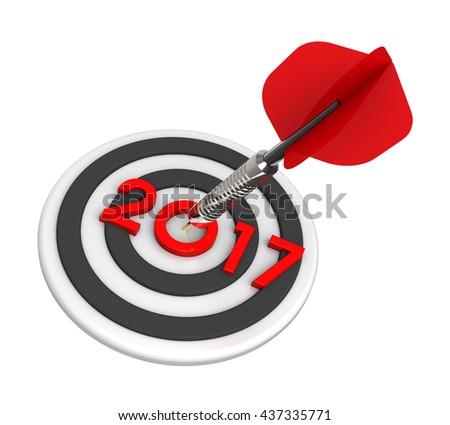 Dart hitting target - New Year 2017. 3D illustration. - stock photo