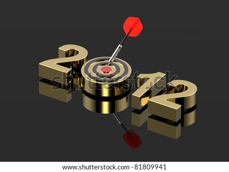 Dart hitting target - New Year 2012 isolated on shiny black. Computer generated 3D photo rendering. - stock photo