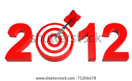 Dart hitting target - New Year 2012 isolated on white. Computer generated 3D photo rendering.
