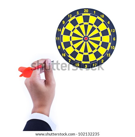 dart in hand and dartboard isolated on white background - stock photo