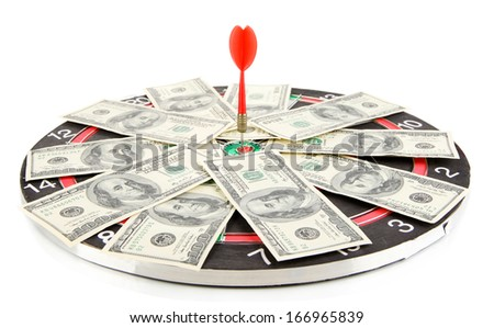 Dart on dartboard and money isolated on white. Concept of success. - stock photo