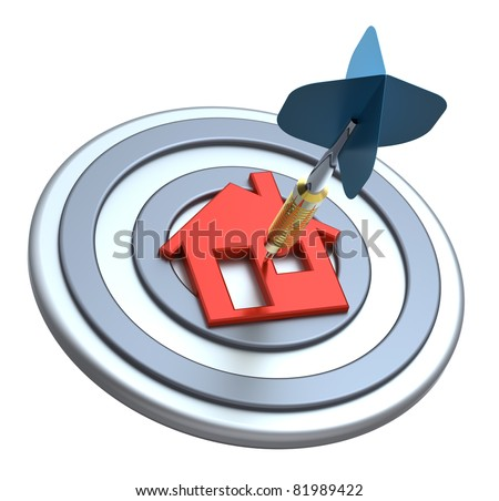 Dart on house target. Dart hit the center of house icon isolated on white background. Computer generated 3D photo rendering. - stock photo