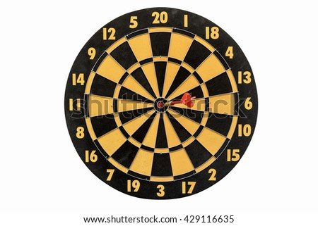 dart target hitting in bullseye on dartboard isolated on white background include clipping path, abstract background for success business education marketing and goals, top view - stock photo