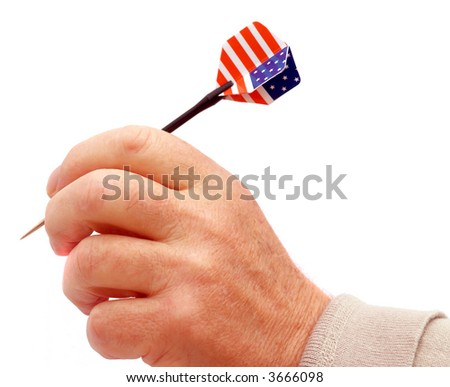 Dart with stars and stripes flag of USA - stock photo
