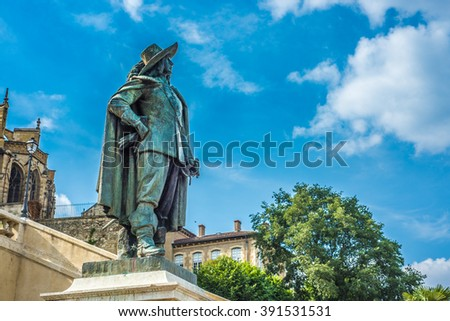 Dartagnan Statue in Gers, Languedoc-Roussillon-Midi-Pyrenees, Southern France. - stock photo