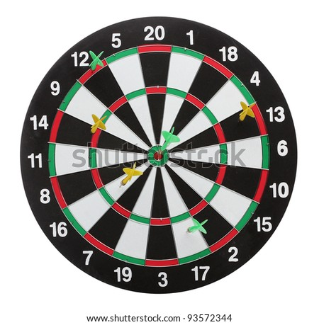 Dartboard bulls eye. Isolated on white background