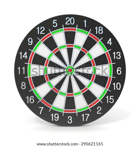 Dartboard. Front view. 3D render illustration isolated on white background - stock photo