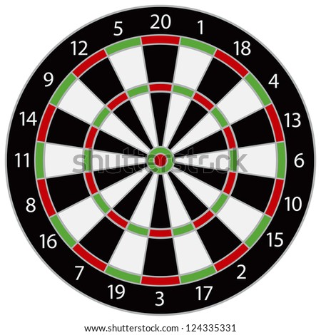 Dartboard Illustration Isolated on White Background Raster Vector