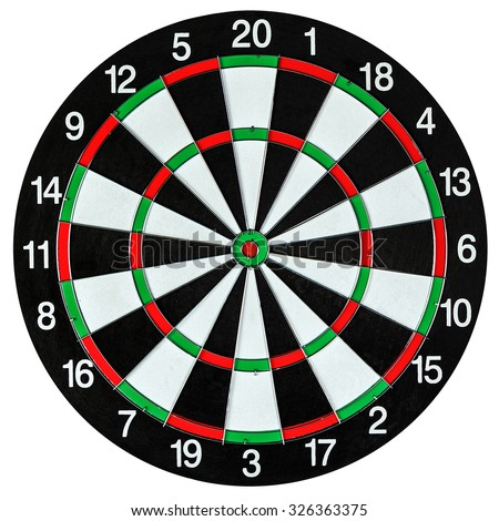 Dartboard isolated on white - stock photo