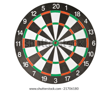 Dartboard on a white background. Close up.