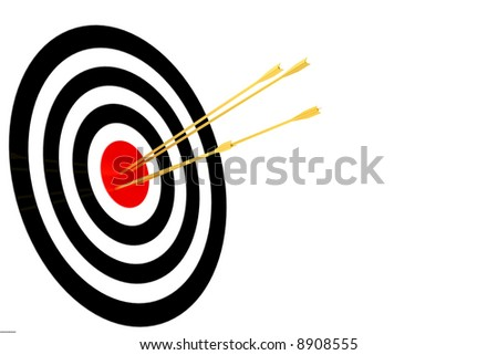 dartboard with arrow isolated in white background
