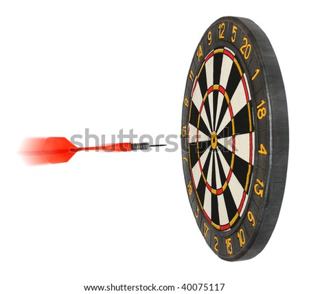 dartboard with dart flying in aim isolated on white - stock photo