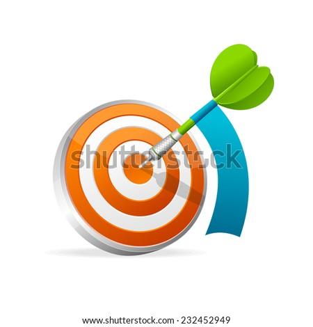 Dartboard with dart. Illustration on white background - stock photo